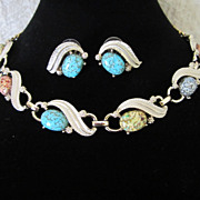 DRASTIC REDUCTION ~ Vintage Enamel and Art Glass Speckled Cabs Necklace and Pierced Earrings Set ~ 1/2 OFF!!