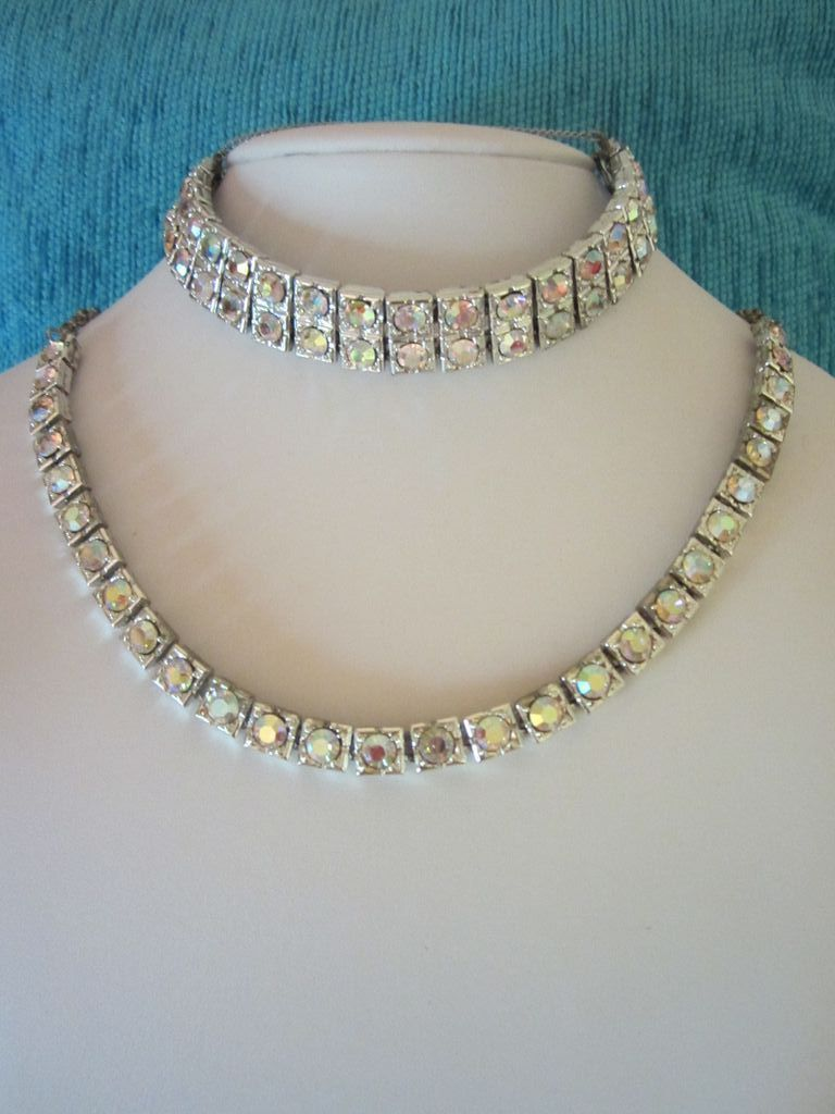 Captivating Art Deco Style AB Rhinestone Bracelet & Necklace Parure