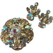 Radiant Vintage Jonquil and AB Rhinestone Brooch Pin and Earrings Demi Parure ~ REDUCED!