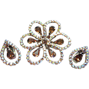 Dazzling Vintage Topaz and AB Rhinestone Brooch Pin and Earrings