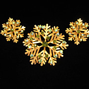 Vintage Dodds Rhinestone Snowflake Pin Brooch and Earrings Set ~ REDUCED...1/2 OFF!