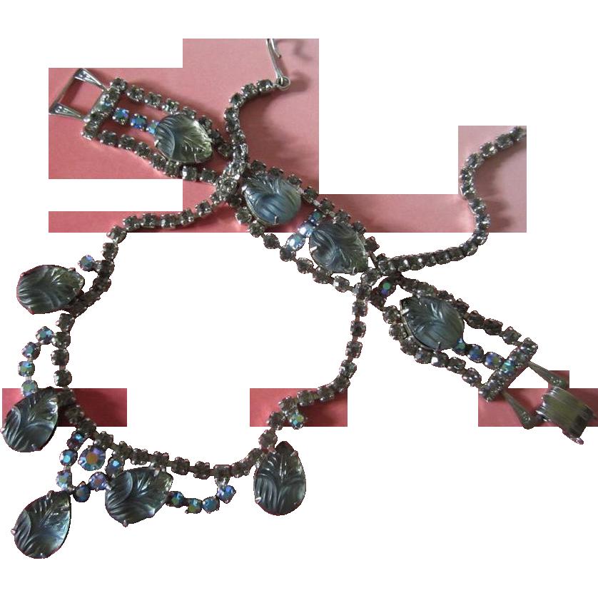 Vintage Molded Blue Glass Flowers, Smokey and AB Rhinestone Set, Necklace & Bracelet ~ REDUCED!