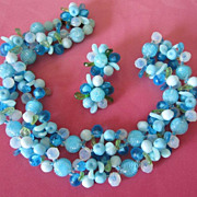 Vintage West Germany Blue Fruit Salad Necklace and Earring Set ~ REDUCED!
