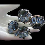 Juliana Hues of Blue Rhinestone Clamper Bracelet and Earrings Demi Parure