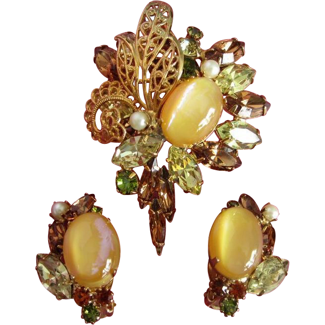 Stunning Hobe Set of Rhinestone Brooch, Earrings ~ REDUCED!!!