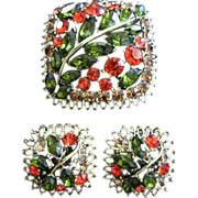 Brilliant Fall Inspired Rhinestone Brooch & Earrings Set ~ REDUCED ~ 1/2 OFF!