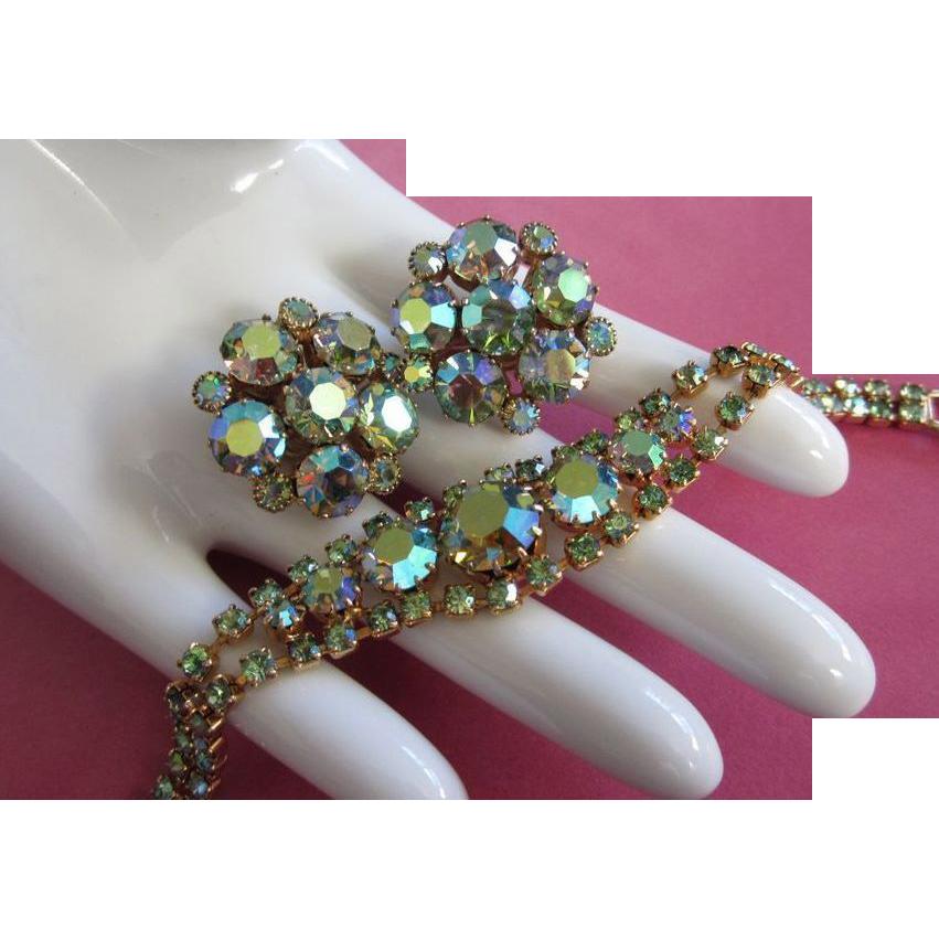 vintage weiss ab rhinestone bracelet earrings set from sarafinas on ruby lane. Black Bedroom Furniture Sets. Home Design Ideas