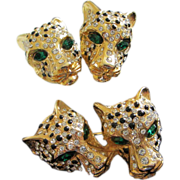 Clear Rhinestone & Black Enamel Leopard Pin, Earrings Set