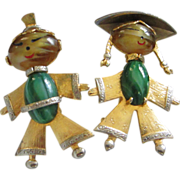 Vintage Asian, Oriental Boy, Girl Figural Pins ~ REDUCED!