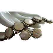 Mother of Pearl, AB Rhinestone and Faux Pearl Set, Bracelet and Earrings ~ REDUCED ~