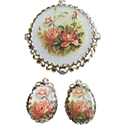 West Germany Floral Motif and Rhinestone Brooch and Earrings Set ~ REDUCED!