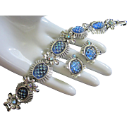Coro Iridescent Blue Cut Glass Cabochons & AB Rhinestone Flowers Set, Bracelet and Earrings ~ REDUCED!!!