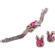 Heliotrope Rivoli and AB Rhinestone Bracelet, Earrings Set