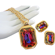 Kenneth J Lane, KJL Flashing Prisms of Color Necklace, Earrings Set ~ REDUCED!