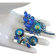 Captivating Juliana Heliotrope Marguerite and Sapphire Rhinestone Floral Pin Brooch, Earring Set