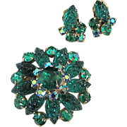 Radiant Emerald Green Lava Rock Glass and Rhinestone Pin, Earrings Set ~ REDUCED!