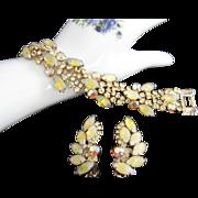 Stunning Lemon Yellow Art Glass, Jonquil and AB Rhinestone Bracelet, Earrings Set, Demi Parure