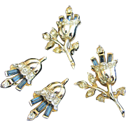 Corocraft Rhinestone Flower Scatter Pins and Earrings Set ~ REDUCED!