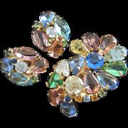 Vintage Openback Rhinestone and Crackle Glass Pin, Earrings Set
