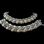 Trifari Faux Pearl and Rhinestone Mistletoe Set, Necklace and Bracelet