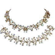 Brilliant Yellow-Pink AB Rhinestone Bracelet, Necklace Set
