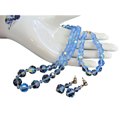 Vintage Light Blue AB Crystals Necklace, Bracelet and Pierced Earrings Set ~ REDUCED ~ 1/2 OFF!