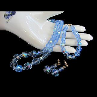 Vintage Light Blue AB Crystals Necklace, Bracelet and Pierced Earrings Set