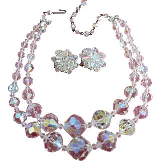 Vintage AB Crystals Double Strand Necklace and Earrings Set