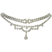 Vintage Clear Rhinestone Choker Necklace and Bracelet Set