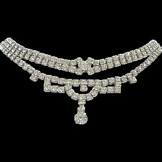 Vintage Clear Rhinestone Choker Necklace and Bracelet Set
