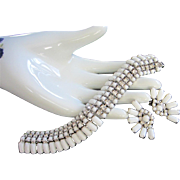 Kramer White Milk Class and Crystals Bracelet Earrings Set, Demi Parure
