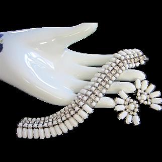 Kramer White Milk Class and Crystals Bracelet Earrings Set, Demi Parure