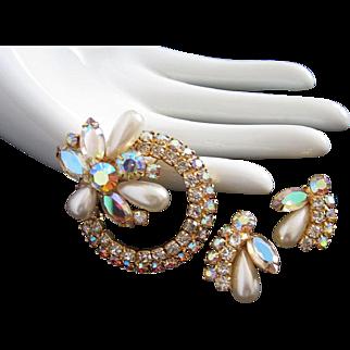 Bursting With Rhinestones Springtime Flower Pin Brooch and Earrings Set
