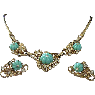 Seafoam Green Lucite Flowers with Rhinestones Necklace Earrings Set