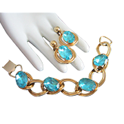 Vivid Vintage Aqua Rhinestone Bracelet and Earrings Set