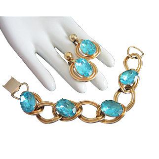 Vivid Vintage Aqua Rhinestone Bracelet and Earrings Set