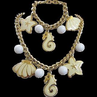 Napier Nautical Beach Ocean Themed Enamel Charm Bracelet and Necklace Set ~ REDUCED!
