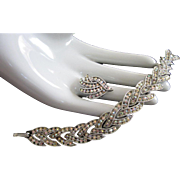 AB Rhinestone, Silver Tone Bracelet and Adjustable Ring Vintage Set