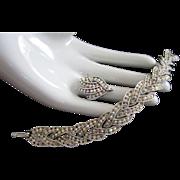 AB Rhinestone, Silver Tone Bracelet and Adjustable Ring Vintage Set
