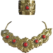 Bold Brass Necklace and Cuff Bracelet Vintage Set, Faux Carnelian