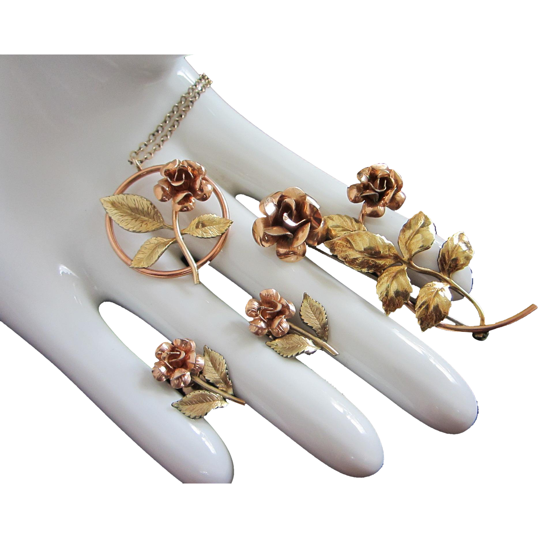 Krementz Two Tone Gold Gilt Flowers Necklace, Pin and Earrings Set