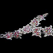 Sarah Coventry Rhinestone and Silvertone Leaves Bracelet Earrings Set