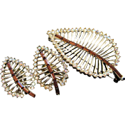 Leaf Pin and Clip On Earrings Set with Topaz and AB Rhinestones