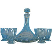 Whisky Decanter Barware Set, Clear Glass with Etched Clipper Ship