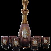 Venetian Amethyst Bohemian Glass Decanter Set - Red Tag Sale Item