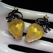 Vintage Golden Strawberries Forbidden Fruit Earrings ~ REDUCED ~ 1/2 OFF!