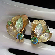 Juliana Pale Green and Citrine Rhinestone Earrings ~ REDUCED!