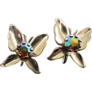 Gold Tone Butterflies with Large AB Rhinestone Earrings ~ REDUCED