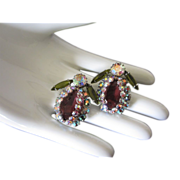 Incredible Designer Rhinestone Bug Insect Earrings ~ REDUCED!