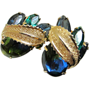 Blue-Green Heliotrope Cabochon and Rhinestone Earrings ~ REDUCED!